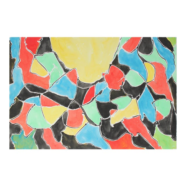 Abstract in Primary Colors, Watercolor Painting, 1992 For Sale