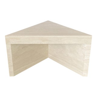 Triangular Italian Travertine End or Side Table For Sale