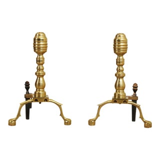 Virginia Metal Crafters Chippendale Style Pair Brass Claw Foot Fireplace Andirons For Sale