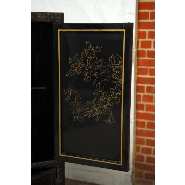 Chinese Export Gilt Lacquered Cabinet on Stand For Sale - Image 10 of 11