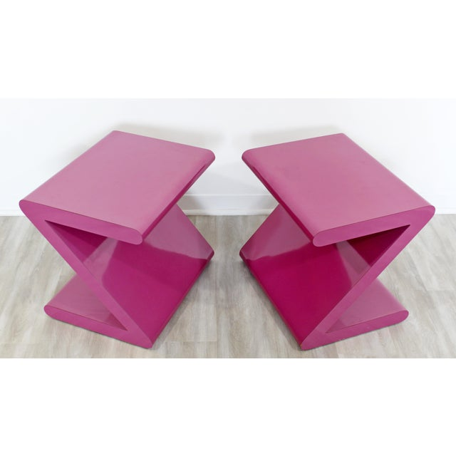 Contemporary Contemporary Modern of Acrylic Z Shaped Side End Tables 1980s Pink - a Pair For Sale - Image 3 of 11