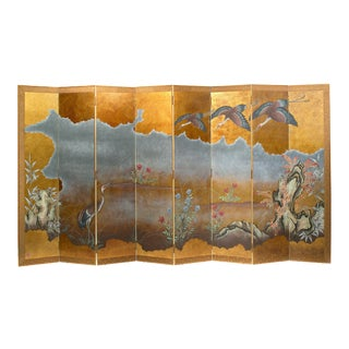 "Lawrence & Scott Japanese Style 8-Panel ""Cranes in Flight"" Hand-Painted Gold Foil Room Divider Screen For Sale"