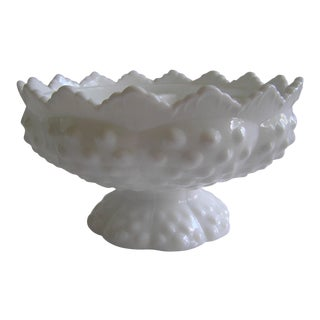 Fenton Hobnail Milk Glass Pedestal Bowl, Candle Holder For Sale