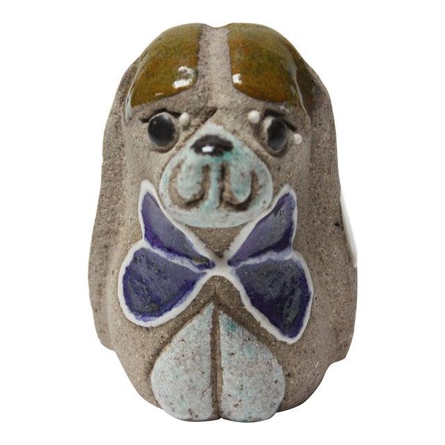 Charming Swedish Modern Ceramic Dog Figurine by Thomas Hellström for Nittsjö Keramik For Sale