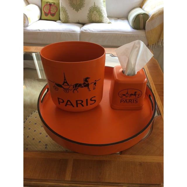 "Hermès Hermes Orange Inspired 21"" Round Bar Serving Tray For Sale - Image 4 of 13"