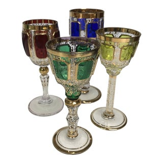 Antique Jewel-Toned Moser Cordial Glasses - Set of 4 For Sale