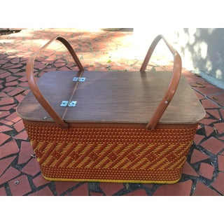 Vintage Mid Century Woven Picnic Basket Preview