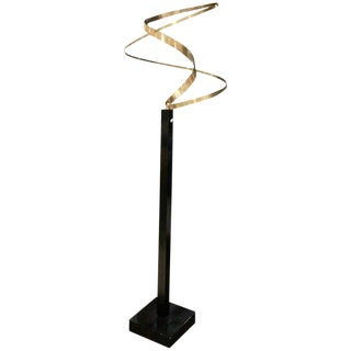 Kinetic Brass Ribbon Sculpture Set on a Tall Metal Stand by Fletcher Benton For Sale