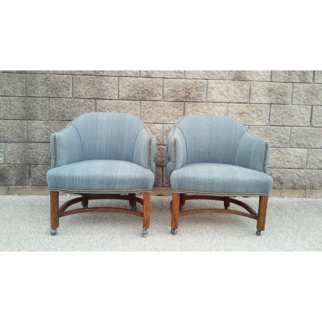 Blue Tufted Barrel Club Chairs - A Pair - Image 4 of 7
