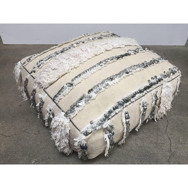 Moroccan Wedding Floor Pillow Pouf with Silver Sequins and Long Fringes For Sale In Los Angeles - Image 6 of 10