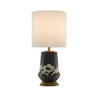 Currey & Co. Komo Bronze Table Lamp With Shade For Sale