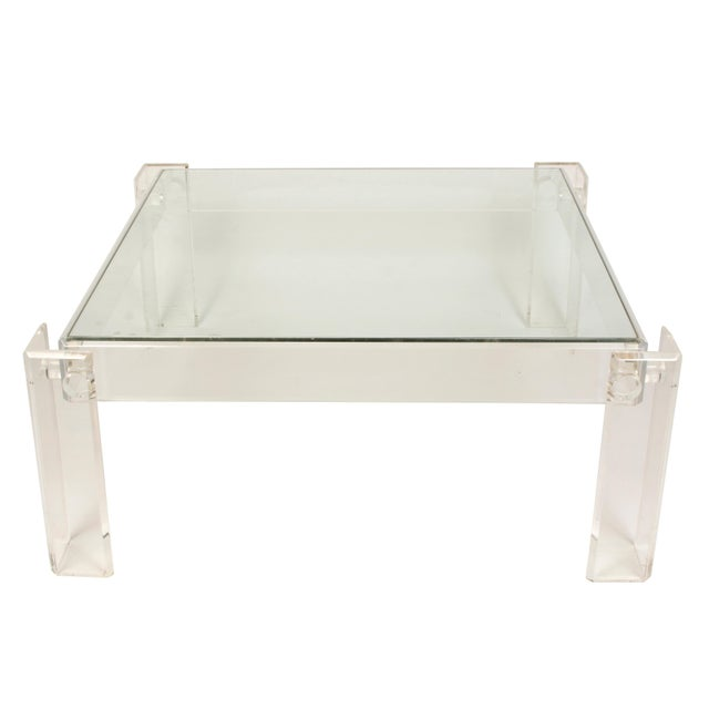 Mid-Century Modern Lucite and Glass Square Cocktail Table For Sale - Image 3 of 5