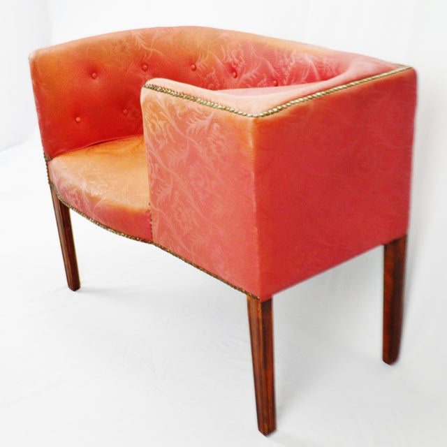 Vintage Red Jacquard Vinyl Barrel Back Gossip Bench Telephone Chair Hall Bench For Sale - Image 9 of 13