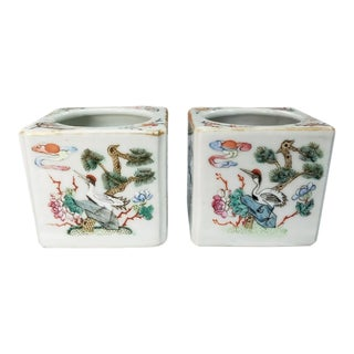 Pair of 19th Century Chinese Famille Rose Enameled Porcelain Bird/Floral Motifs Water Pots For Sale