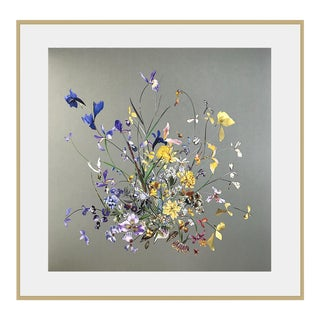 Early Spring, Iris, Daffodil, Floral Collage by Marcy Cook For Sale