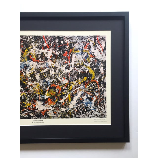 """Abstract Jackson Pollock Rare Vintage 1964 Mid Century Modern Framed Abstract Expressionist Lithograph Print """" Convergence """" 1952 For Sale - Image 3 of 13"""