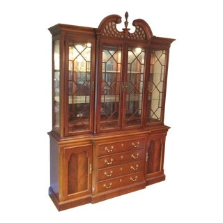 Vintage Lexington Chippendale Style Solid Mahogany China Cabinet For Sale