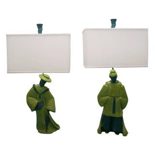 Pair of Chinoiserie Asian Style Figural Lamps For Sale