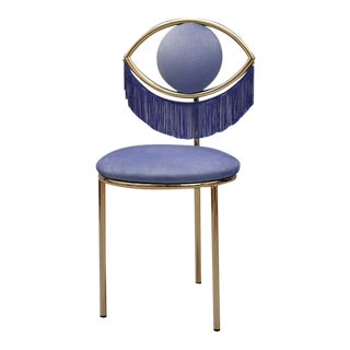 Wink Chair in Bluette Velvet With Fringes by Houtique For Sale