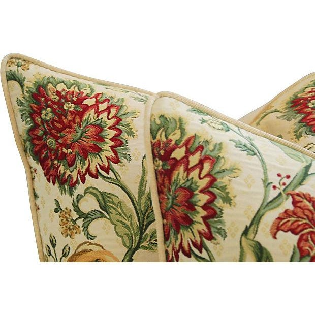 "Silk Custom Scalamandre Floral Brocade Feather/Down Pillows 24"" Square - Pair For Sale - Image 7 of 14"