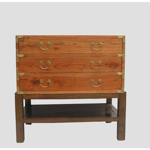 With hand forged hardware and natural swirling wood grain, this handsome three drawers accent table can used with or...