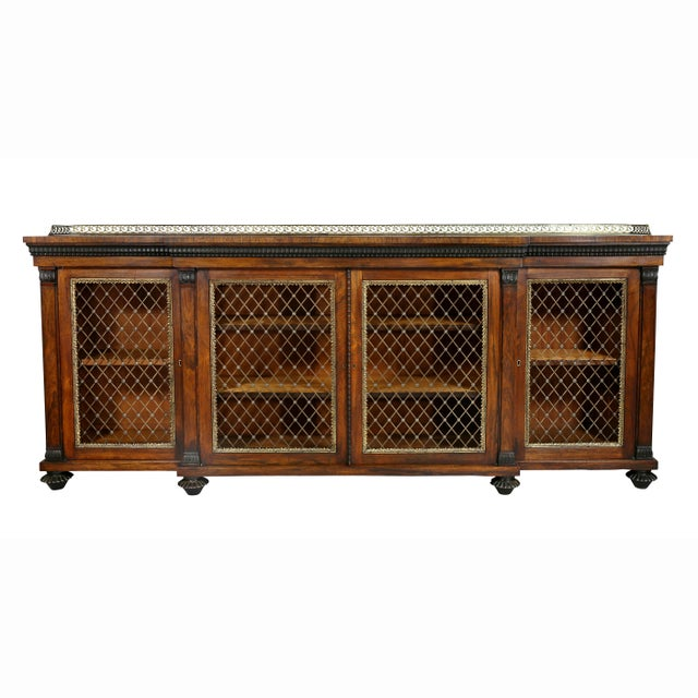 Regency Rosewood, Ebonized and Bronze Mounted Credenza or Cabinet For Sale - Image 13 of 13