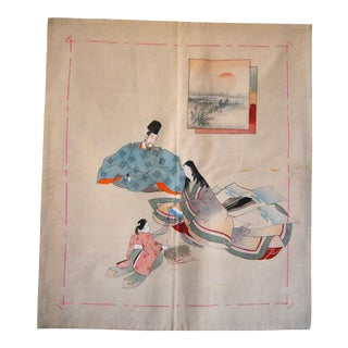 1930s Japanese Tea Ceremony Mat With Heian Family, Chirimen Fukusa For Sale