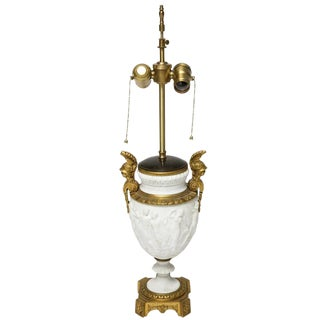 19th Century Neoclassical Style Bisque Vase Table Lamp With Bronze Doré Mounts For Sale