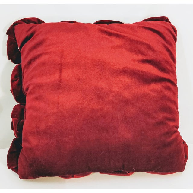 Velvet Roses Pillow Cranberry Red For Sale - Image 4 of 5
