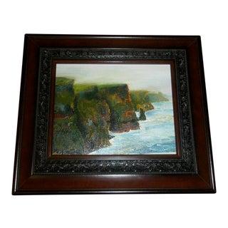 Nancy T Van Ness Cliffs of Mohr Ireland Framed Oil Painting For Sale