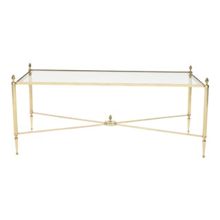 French Maison Bagues Brass Glass Coffee Table 1950s For Sale
