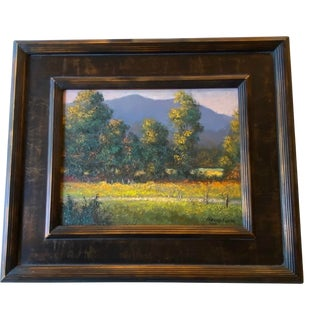 """""""The Fence Line at Cade's Cove"""" Contemporary Smokey Mountains Landscape Oil Painting, Framed For Sale"""