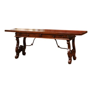 Mid-19th Century Spanish Carved Walnut and Iron Console Table Desk With Drawers For Sale