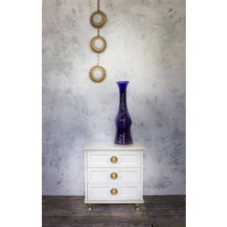 Single White Lacquered Mid-Century Modern Nightstand With Brass Trim Preview