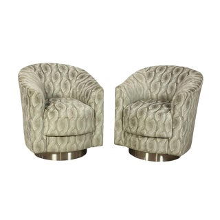 1980s Vintage Vladmir Kagan Swivel Armchairs- a Pair For Sale