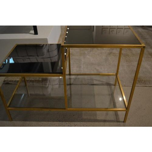 1970s Vintage Gilt Metal End Table With Smoked Glass, France, C.1970 For Sale - Image 5 of 7