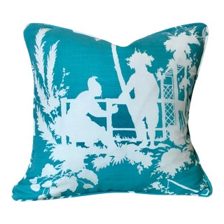 "Thibaut South Seas in Turquoise Pillow Cover With Self Welt - 18x18"" For Sale"