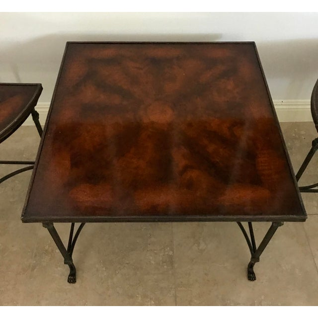 Baker Furniture Company Vintage Traditional 3 Piece Bronze and Burled Wood Coffee Side Table Set - 3 Pieces For Sale - Image 4 of 10
