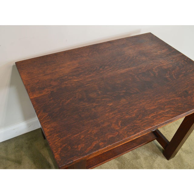 Brown Mission Oak Antique One Drawer Table Writing Desk Possibly Stickley For Sale - Image 8 of 13