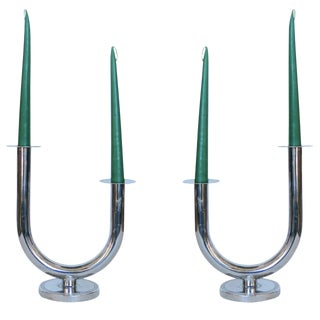 "Chrome ""Taurex"" Candleholders by Walter Von Nessen for Chase For Sale"