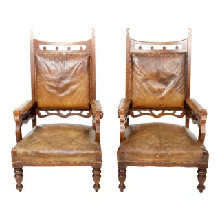 Pair of Gothic Style Leather & Oak Armchairs, England, 19th Century For Sale