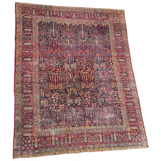 "Distressed Large 1930s Persian Kerman ""Tree of Life"" Rug For Sale"