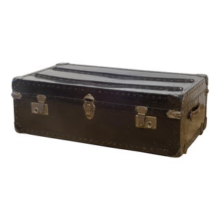 Metal, Brass and Leather Italian Trunk C.1940 For Sale