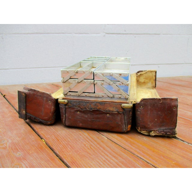 Antique Leather Fishing Tackle Box For Sale - Image 5 of 11