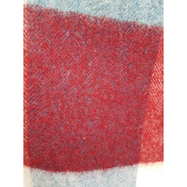 Wool Throw Red Blue White Square Stripes - Made in England For Sale - Image 11 of 12