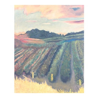 Vineyard in Wine Country Sunset Landscape Oil Painting