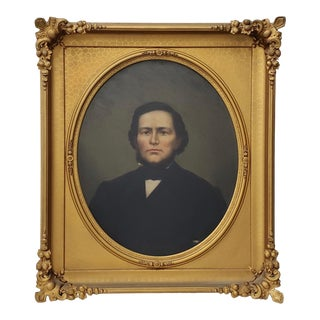 Mid 19th Century American Male Portrait Oil Painting For Sale