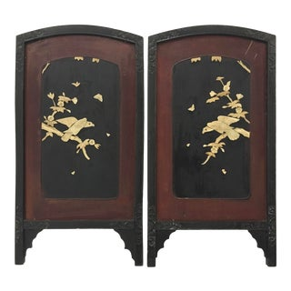 Pair of Vintage Chinese Bone Inlaid Laquer Panels With Birds of Pray For Sale