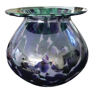 Signed Studio Art Glass Green to Purple Vase For Sale