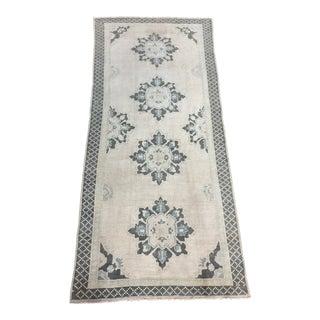 Vintage Turkish Oushak Wool Runner Rug - 4′4″ × 9′1″ For Sale